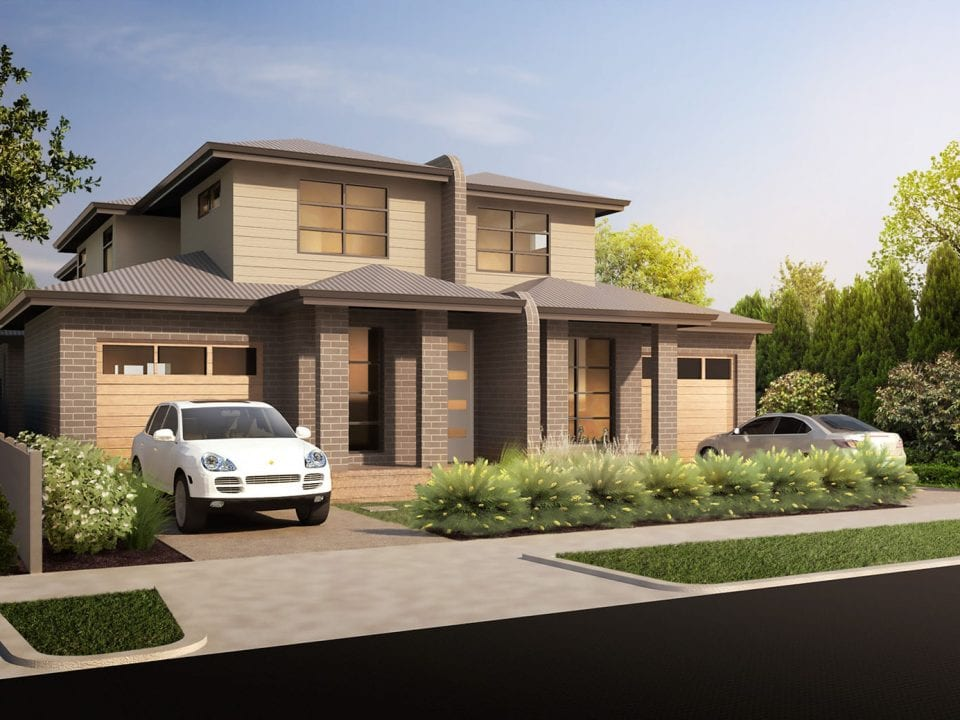 Exterior view of custom dual occupancy home with car parking outside at Darley
