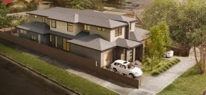 Sky view of luxurious custom home with car parking space