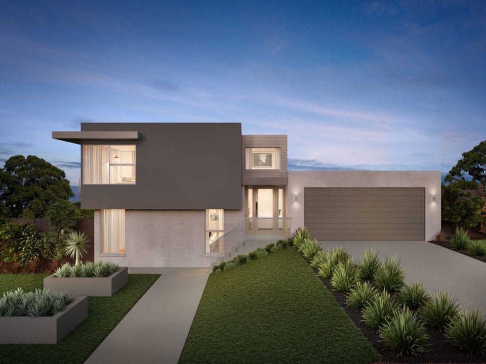 Night view of double storey home built at Calista