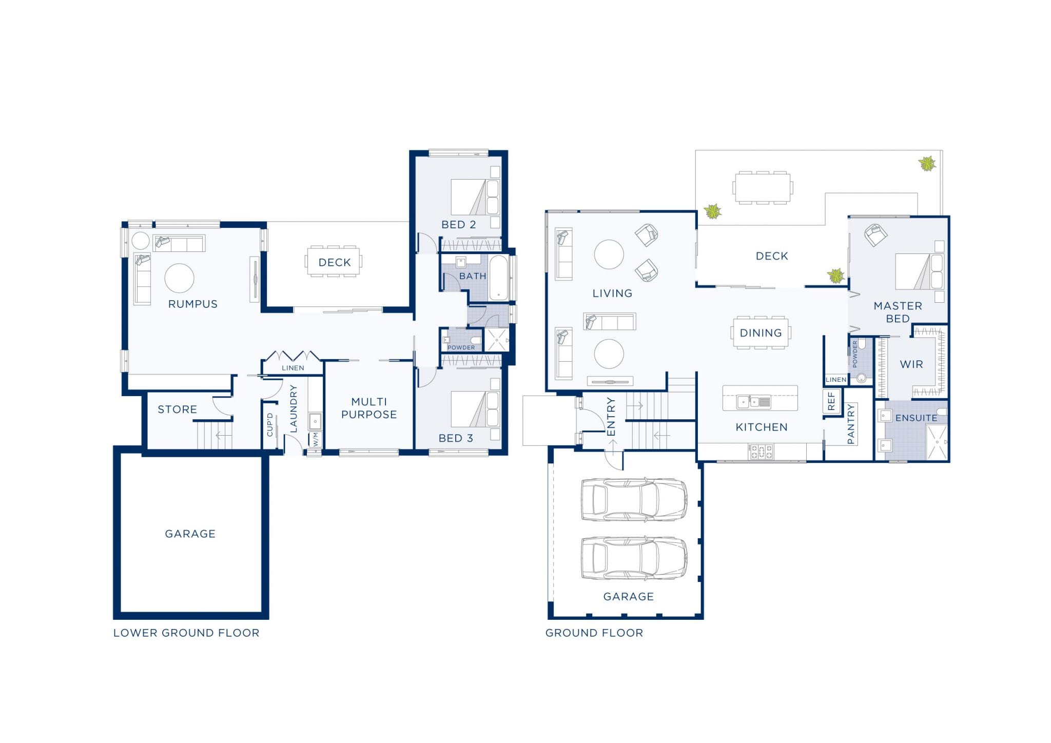 Plan of double storey home built at Calista