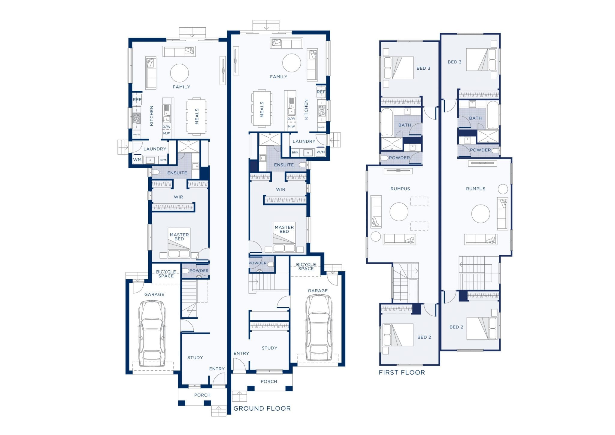 Plan of custom dual occupancy home with car parking outside at Darley