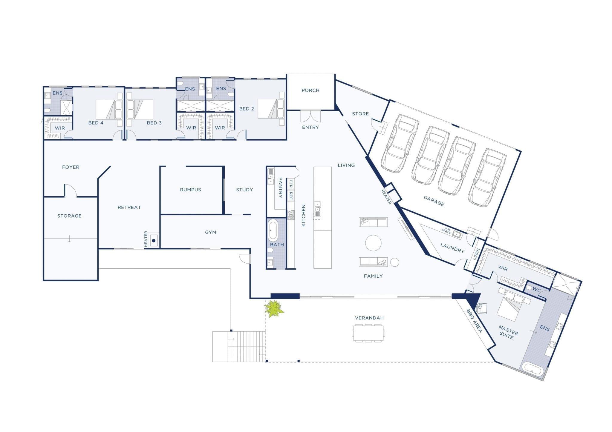 Custom Single storey design plan on sloping block plan