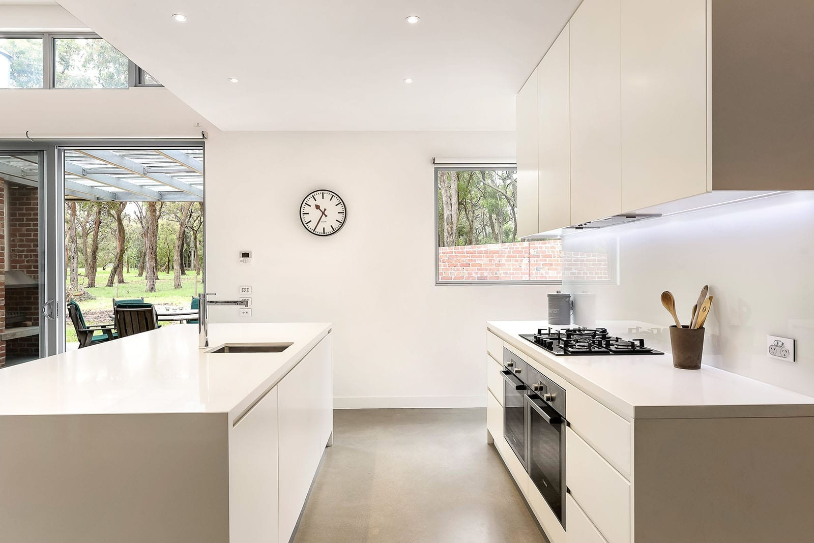 Contemporary kitchen with dual ovens