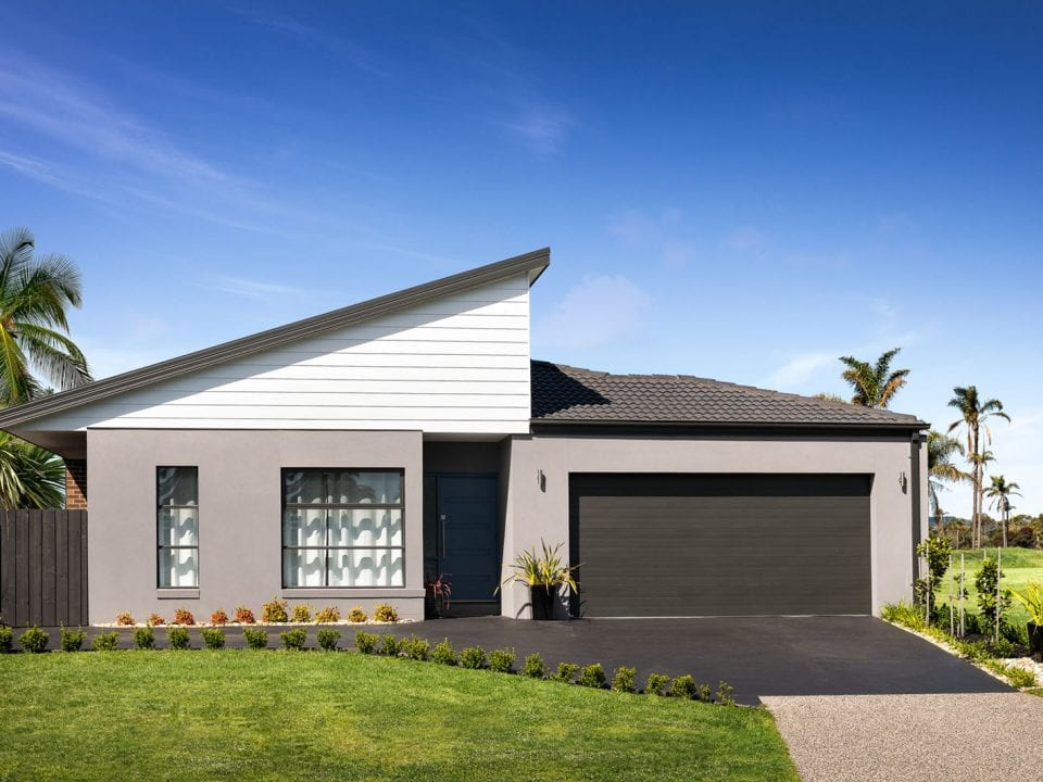 Exterior view of remodeled single story contemporary home at Eden